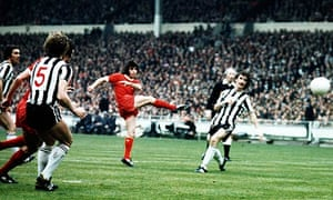 Kevin Keegan scores Liverpool's first goal in the 1974 FA Cup finals against Newcastle United