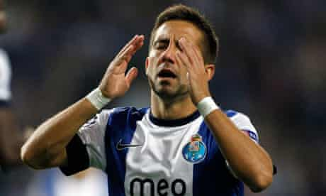 Porto's Moutinho reacts after a missed chance against Paris Saint-Germain in the Champions League