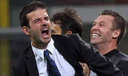 Manager Andrea Stramaccioni celebrates with Antonio Cassano after Inter won the Milan derby