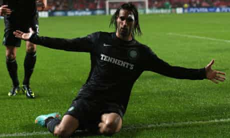 Georgios Samaras celebrates after scoring for Celtic