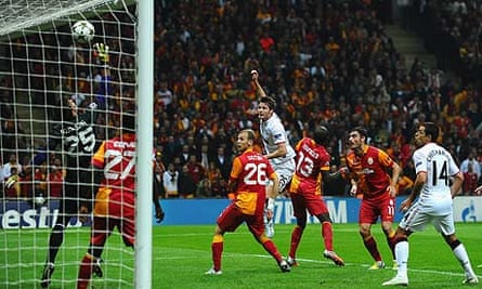 Nick Powell of Manchester United watches as his header hits the bar in the 1-0 defeat at Galatasaray