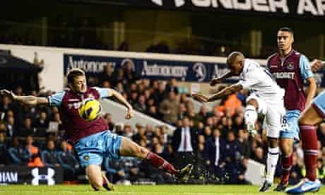 Tottenham Hotspur's Jermain Defoe scores against West Ham