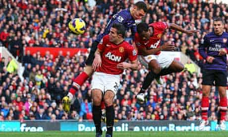 Patrice Evra of Manchester United scores