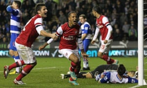 Arsenal's The Walcott celebrates