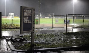 By the entrance to the pitch where the attack happened, a sign