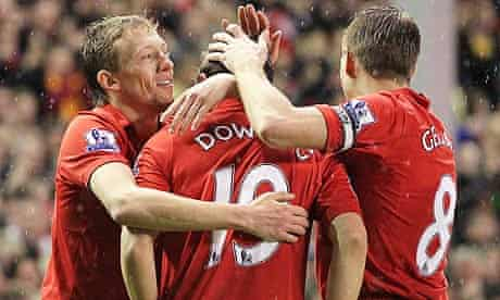 Stewart Downing is congratulated by his team mates after scoring against Fulham