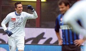 Novara forward Andrea Caracciolo celebrates after scoring the winning goal against Inter