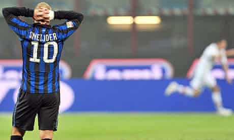 Wesley Sneijder reacts during Inter's latest setback, a 3-0 defeat to lowly Bologna at San Siro