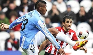 Malaga striker Salomon Rondon in action against Athletic