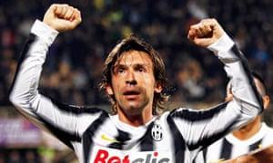 Andrea Pirlo celebrates after scoring against Fiorentina