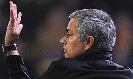 Jose Mourinho reacts during the match