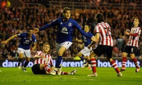 Nikica Jelavic celebrates scoring for Everton against Sunderland