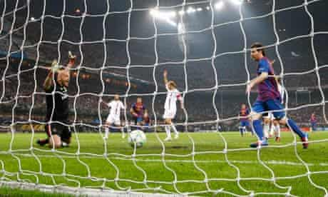 Barcelona's Lionel Messi taps the ball in but is offside