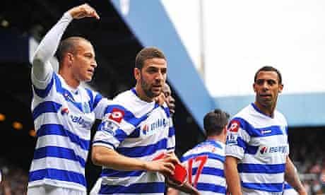 Queens Park Rangers' Adel Taarabt celebrates scoring against Arsenal