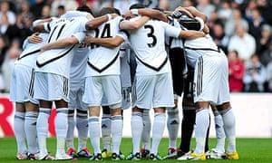 Swansea City huddle