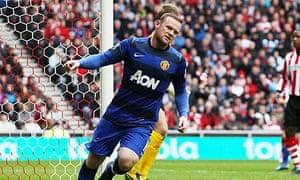 Wayne Rooney celebrates scoring for Manchester United against Sunderland