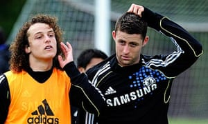 Champions League final training for Chelsea's Gary Cahill and David Luiz