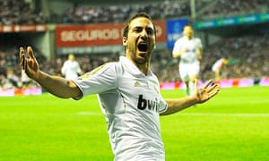 Real Madrid's Gonzalo Higuaín celebrates putting his side 1-0 up at Athletic Bilbao