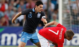 Gareth Barry in action for England against Norway