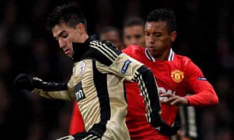 Nicolás Gaitán in action against Manchester United
