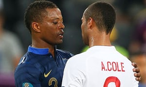 Patrice Evra and Ashley Cole after the game