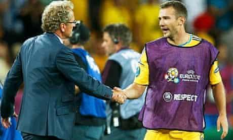 Erik Hamren shakes hands with Andriy Shevchenko after their Euro 2012 game