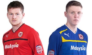 Cardiff City's new red home football kit and blue away kit