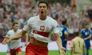 Robert Lewandowski celebrates