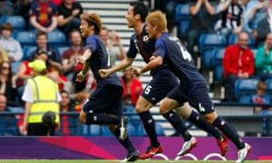 Japan's Yuki Otsu celebrates after scoring