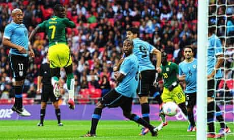 Senegal's Moussa Konaté scores in the 2-0 win against Uruguay in the Olympic football