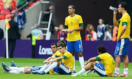 Brazil's players react after losing the London 2012 Olympic football final 2-1 to Mexico at Wembley