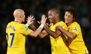 Southampton's Jason Puncheon, centre, celebrates his team's third goal against Stevanage
