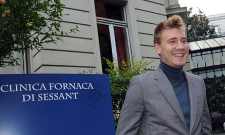 Nicklas Bendtner arrives at the clinic Fornaca in Turin, Italy, to undergo medical tests