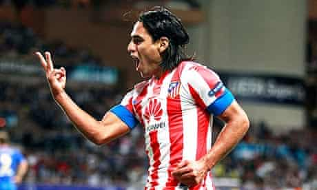 Atlético Madrid's Radamel Falcao after his third goal against Chelsea in the Super Cup