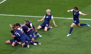 The US celebrate the opening goal