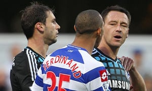 John Terry, right, with QPR's Anton Ferdinand during Chelsea's match at Loftus Road in October 2011