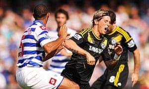 Queens Park Rangers' Anton Ferdinand and Chelsea's Fernando Torres