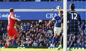 Nikica Jelavic of Everton scores against Southampton