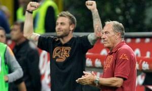 Roma coach Zdenek Zeman, right, applauds with  midfielder Daniele De Rossi after beating Inter