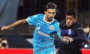 Hulk playing for Porto against Zenit St Petersburg