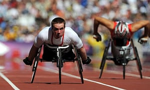 ParalympicGB's Mickey Bushell in action at the Olympic Stadium