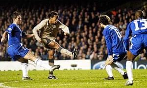 Ronaldinho in his pomp, scoring his famous goal for Barcelona against Chelsea inChampions League
