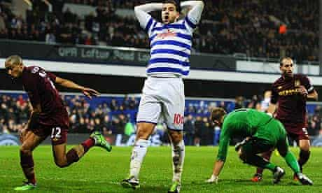 Adel Taarabt of Queens Park Rangers reacts after a missed chance