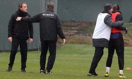 Man City manager Roberto Mancini and Mario Balotelli came to blows