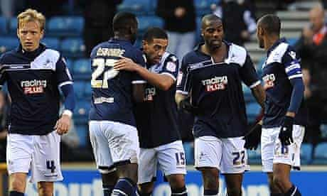Liam Feeney is congratulated after scoring the winner for Millwall against Preston North End