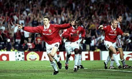 Ole Gunnar Solskjaer of Manchester United celebrates his late winner against Bayern Munich in 1999