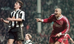 Stan Collymore turns away after scoring Liverpool's winning goal in the 4-3 victory over Newcastle at Anfield in 1996.