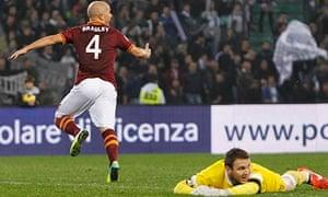 Roma's Michael Bradley celebrates after scoring past Udinese's goalkeeper Ivan Kelava