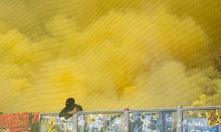 Flares let off by Borussia Dortmund fans at their 3-1 win over Schalke in the Bundesliga.