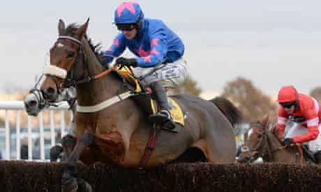 Cue Card and Joe Tizzard on their way to a decisive victory in the Betfair Chase at Haydock Park